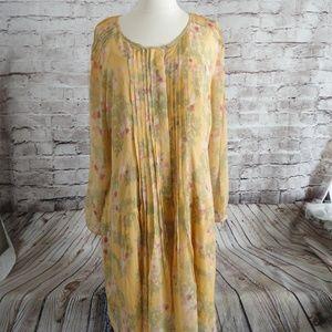 SUNDACE Floral Print DRESS. - sz L 100% Silk NEW